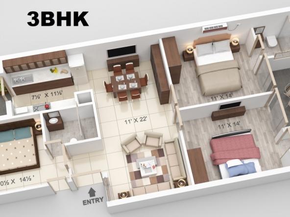 3 BHK Apartment-1350 Sq Ft 1st Floor (Standard)